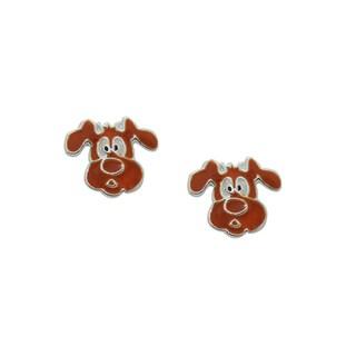 Sterling Silver Brown Enamel Puppy Dog Childrens Earrings