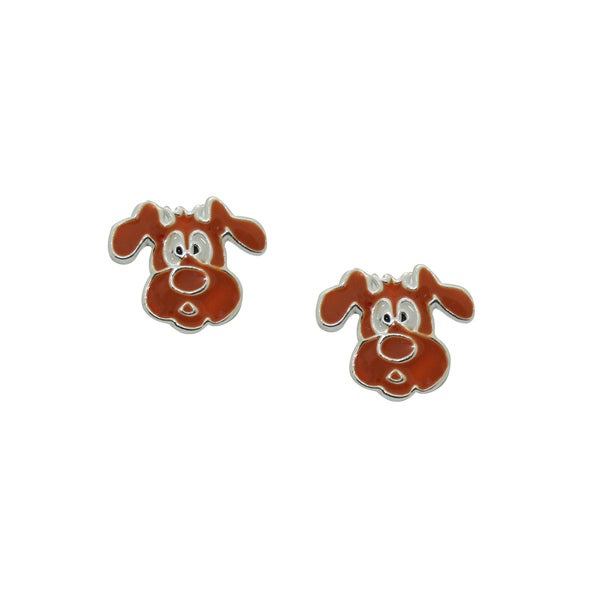 Gioelli Sterling Silver Brown Enamel Puppy Dog Childrens Earrings