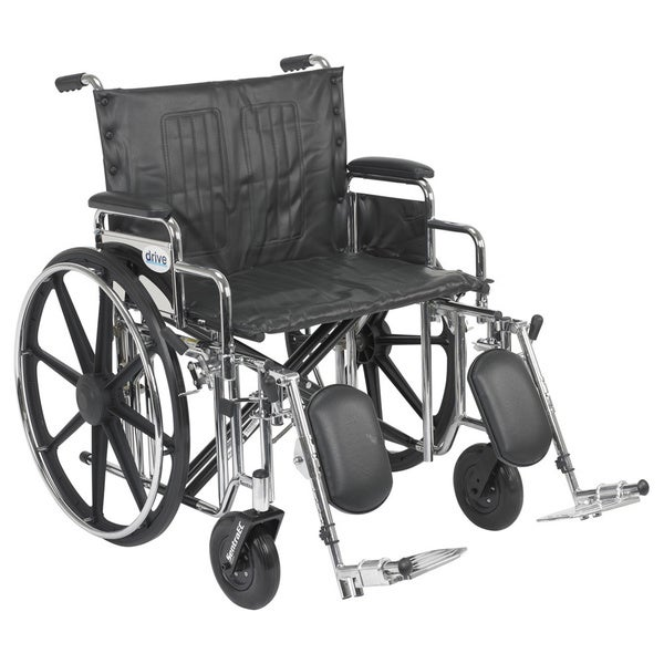Drive Medical std24dda-elr 24-inch Wide Sentra Extra Heavy-duty Wheelchair with Various Arm Styles