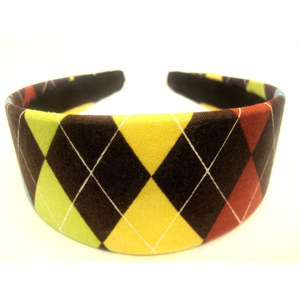 Crawford Corner Shop Brown Yellow Argyle Headband
