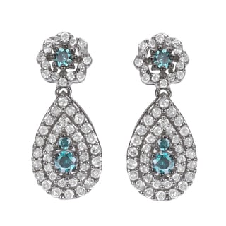 10k White Gold 1ct TDW Blue and White Diamond Halo Earrings(H-I, I1-I2)