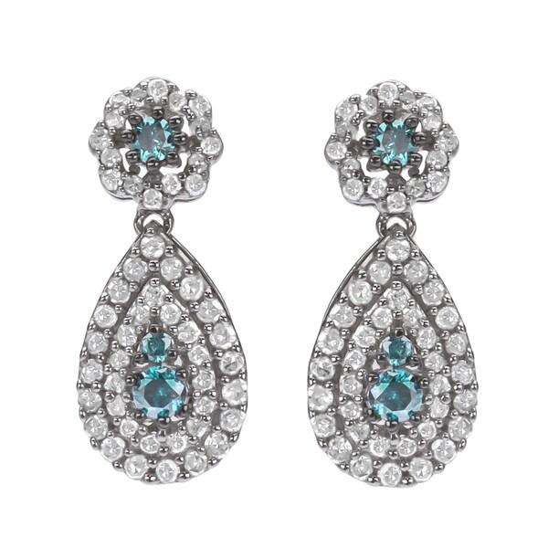 10k White Gold 1ct TDW Blue and White Diamond Halo Earrings(H-I, I1-I2)