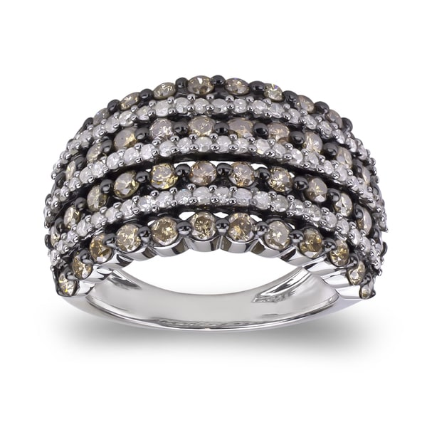 Sterling Silver 2ct TDW Brown and White Diamond Pave Multi-Row Ring