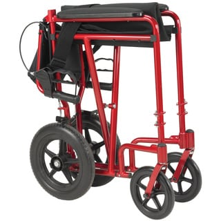 Red Lightweight Expedition Transport Wheelchair with Hand Brakes