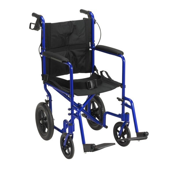 Blue Lightweight Expedition Transport Wheelchair with Hand Brakes