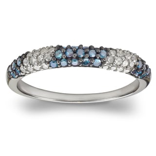 Sterling Silver 1/2ct TDW Blue and White Diamond Ring (H-I, I1-I2)