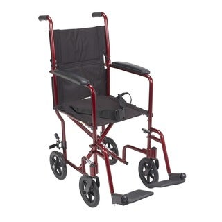 Lightweight 17-inch Red Transport Wheelchair