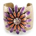Sweet Romance Purple Daisy Retro Flower Cuff Bracelet