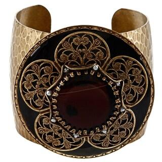 Sweet Romance Goldtone Vintage Bohemian Cuff Bracelet