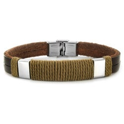 Crucible Stainless Steel and Leather Men's Rope Detail Bracelet