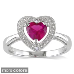 Miadora Sterling Silver Multi Gemstone and Diamond Heart Ring (H-I, I2-I3)