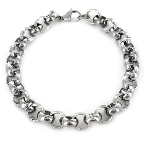 Stainless Steel Men's Large Polished Rolo Chain Bracelet