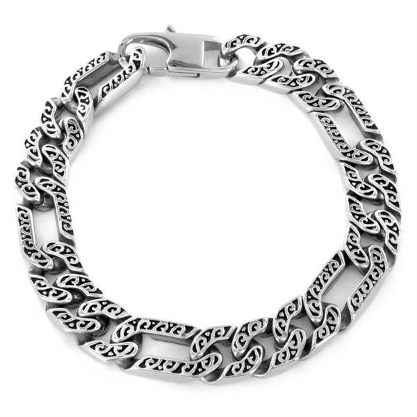Stainless Steel Men's Etched Figaro Bracelet