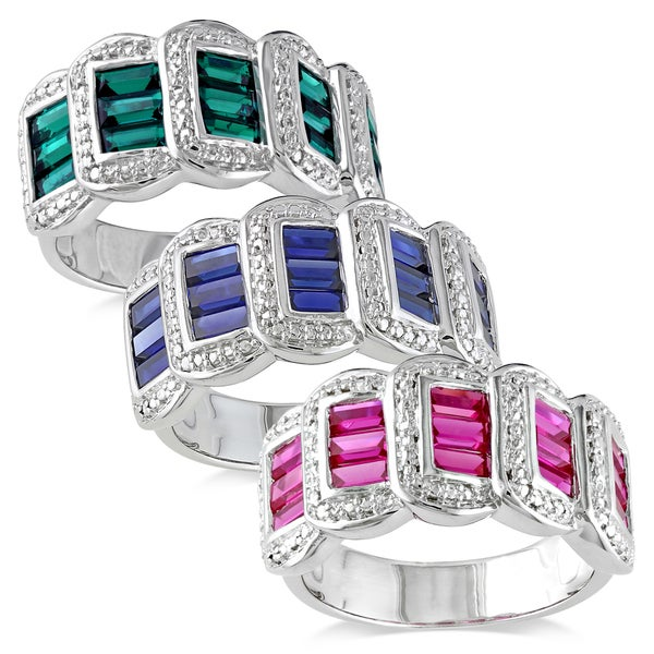 Miadora Sterling Silver Emerald, Sapphire or Ruby Ring