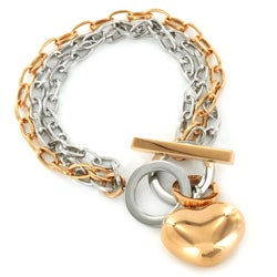 ELYA Two-tone Stainless Steel Heart Charm Bracelet