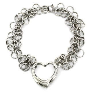 West Coast Jewelry Stainless Steel Open Heart Charm Bracelet