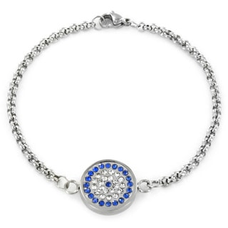 Stainless Steel Clear and Blue CZ 'Evil Eye of Nazar' Charm Bracelet
