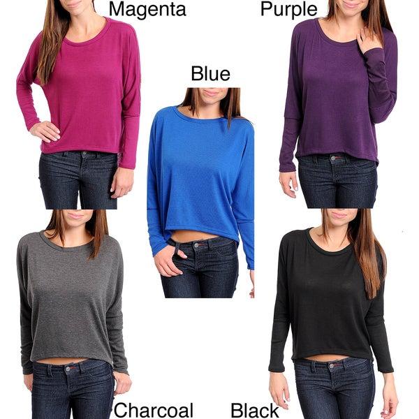 Stanzino Women's Long Sleeve Scoop Neck Solid Top