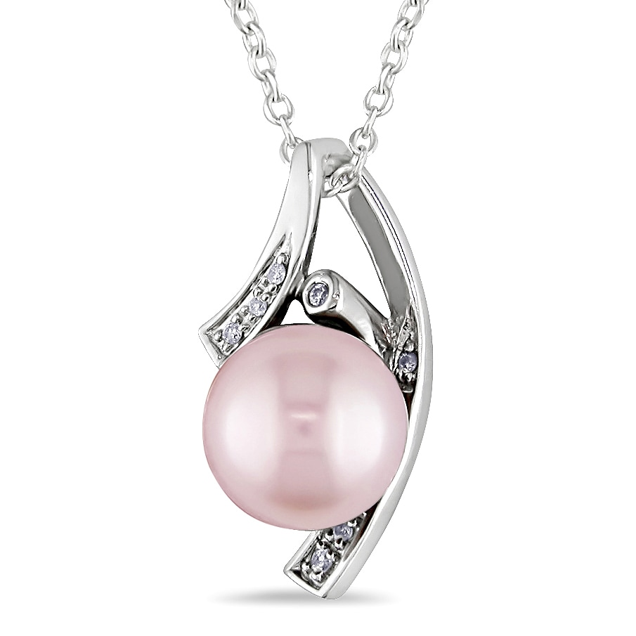M by Miadora Sterling Silver Pink Pearl and Diamond Necklace (H-I, I2-I3)