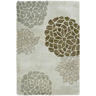 Handmade Soho Botanical Light Grey Wool Rug (2'6 x 4')