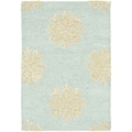 Handmade Soho Medallion Light Blue Wool Rug (2'6 x 4')