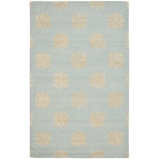Handmade Soho Medallion Light Blue Wool Rug (6' x 9')