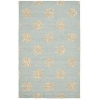 Handmade Soho Medallion Light Blue Wool Rug (8'3 x 11')