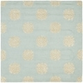 Handmade Soho Medallion Light Blue Wool Rug (8' Square)