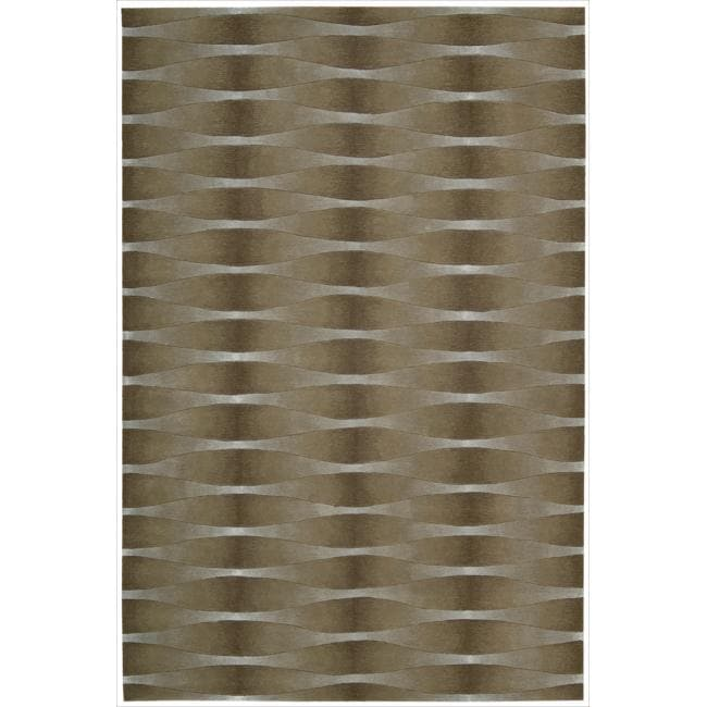 Nourison Hand-tufted Moda Brown Geometric Rug (9'6 x 13'6)
