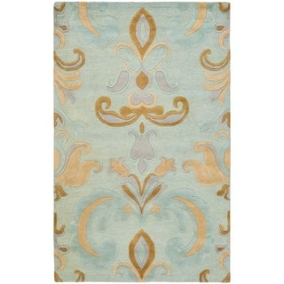 Handmade Soho Passage Light Blue New Zealand Wool Rug (6' x 9')