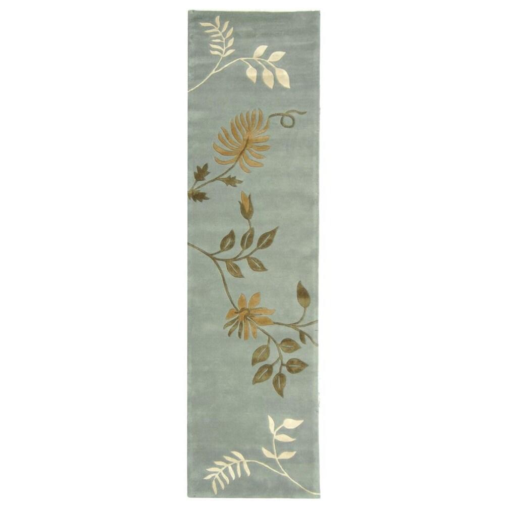 Safavieh Handmade Soho Twigs Light Blue New Zealand Wool Rug (2'6 x 20')