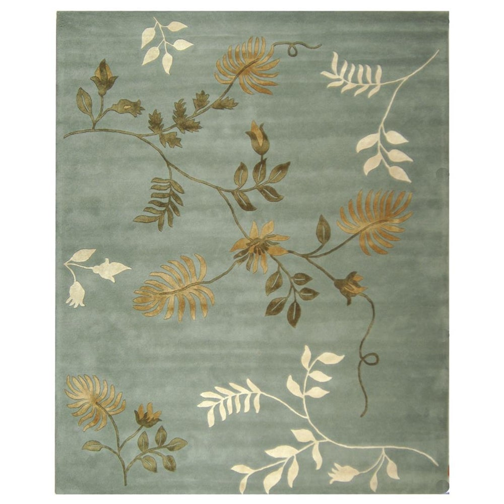Handmade Soho Twigs Light Blue New Zealand Wool Rug (9' x 12')