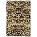Handmade Tribal Beige New Zealand Wool Rug (9'6 x 13'6)