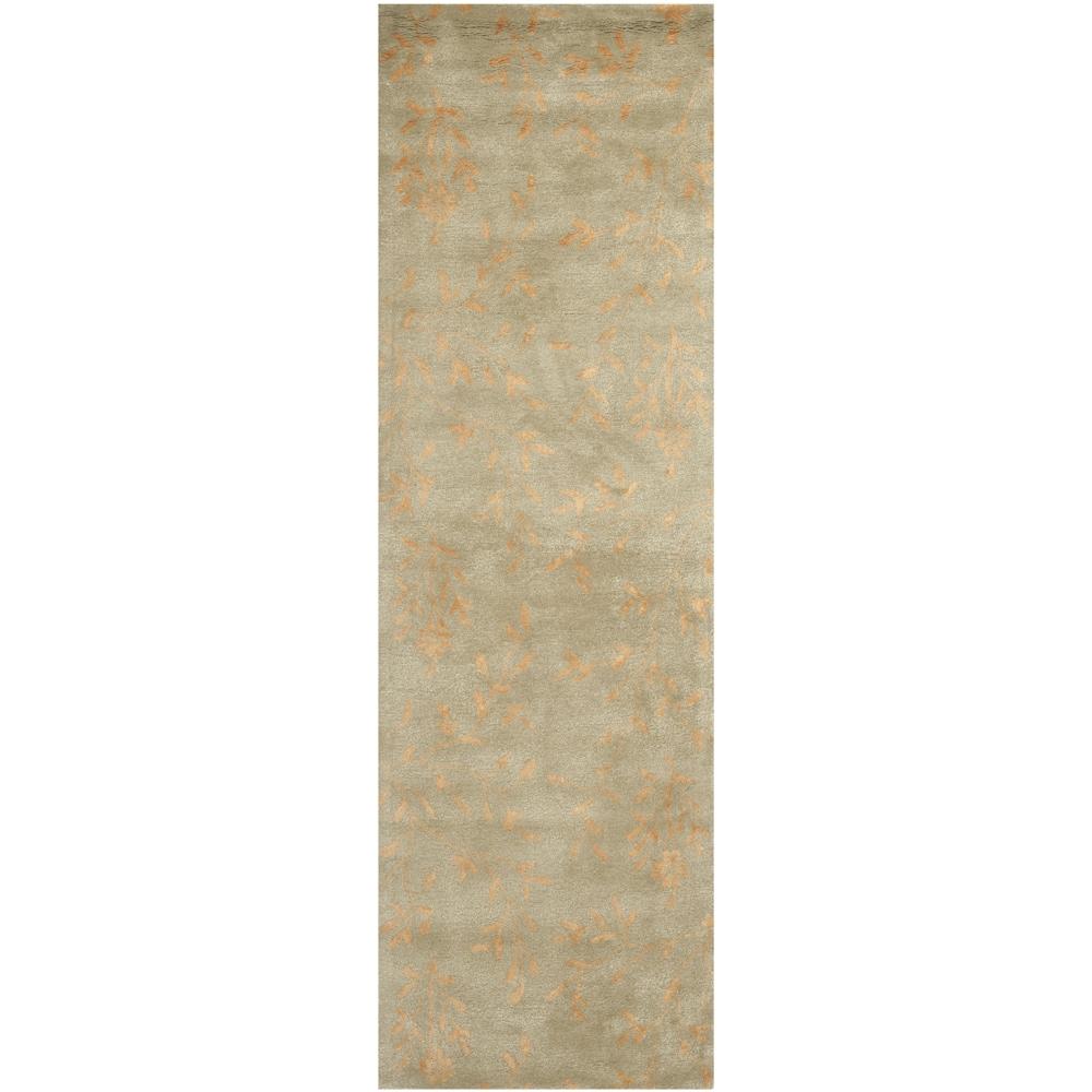 Handmade Tranquility Sage New Zealand Wool Rug (2'6 x 10')