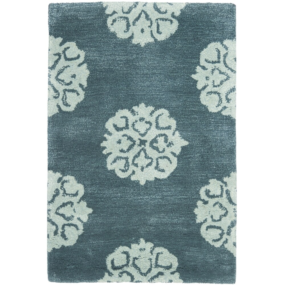 Handmade Medallion Blue New Zealand Wool Rug (2' x 3')