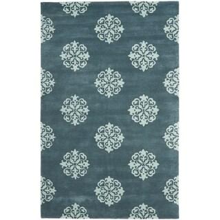 Safavieh Handmade Medallion Blue New Zealand Wool Rug (3'6 x 5'6')