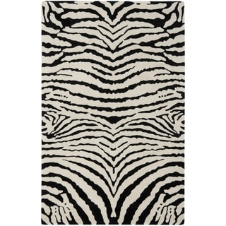 Handmade Zebra Ivory/ Black New Zealand Wool Rug (7'6 x 9'6)