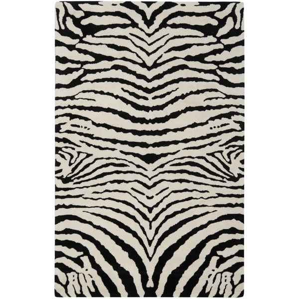 Safavieh Handmade Zebra Ivory/ Black New Zealand Wool Rug (7'6 x 9'6)