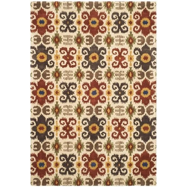 Safavieh Handmade Festive Ivory New Zealand Wool Rug (7'6 x 9'6)