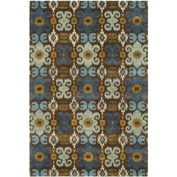 Safavieh Handmade Festive Brown New Zealand Wool Rug (9'6 x 13'6)