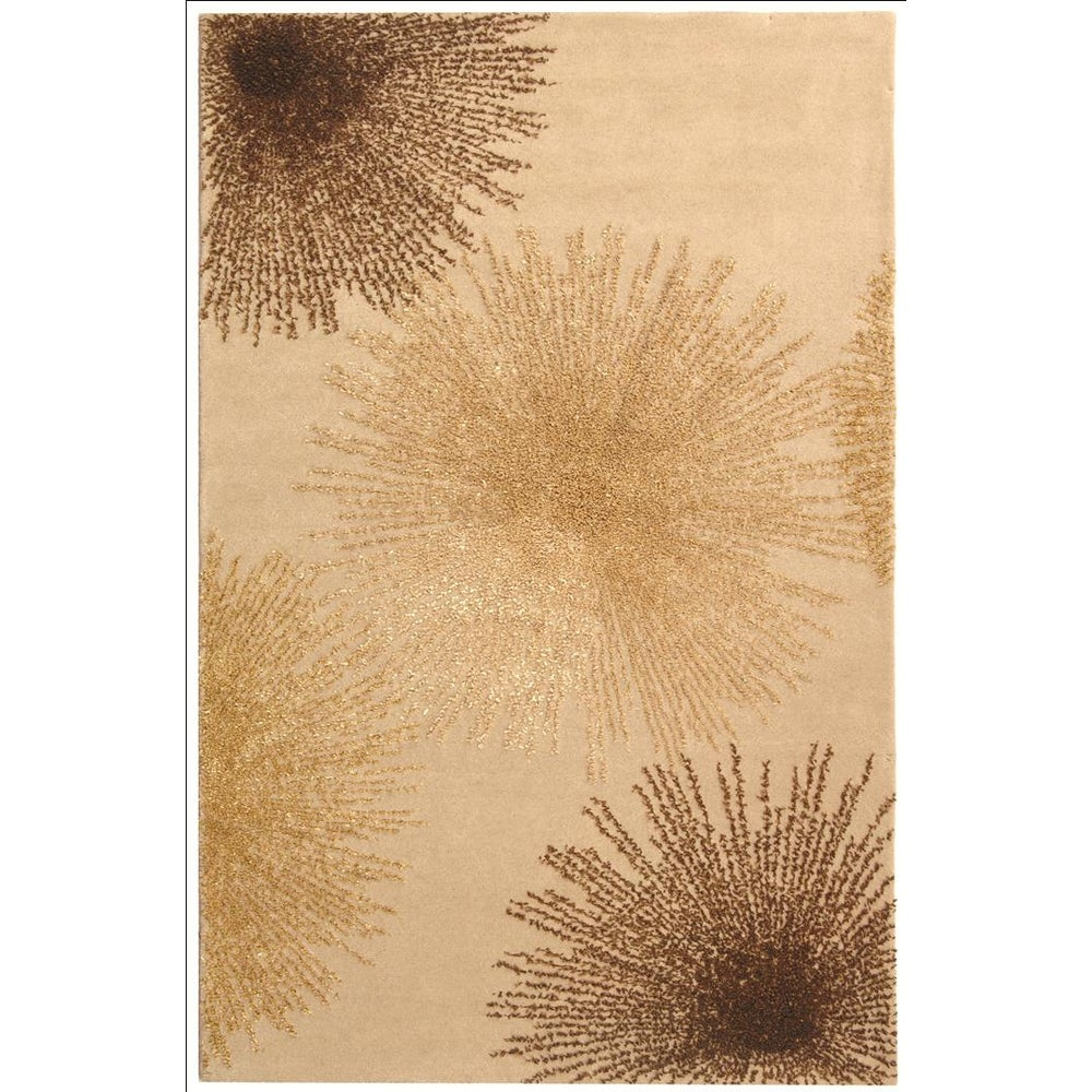 Handmade Soho Burst Beige New Zealand Wool Rug (2'6 x 4')