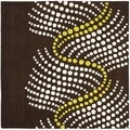 Handmade Soho Waves Brown New Zealand Wool Rug (8' Square)