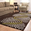 Handmade Soho Waves Brown New Zealand Wool Rug (9'6 x 13'6)