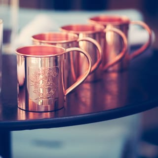 Paykoc 13.5-oz Solid Copper Embossed Moscow Mule Mugs (Set of 4)