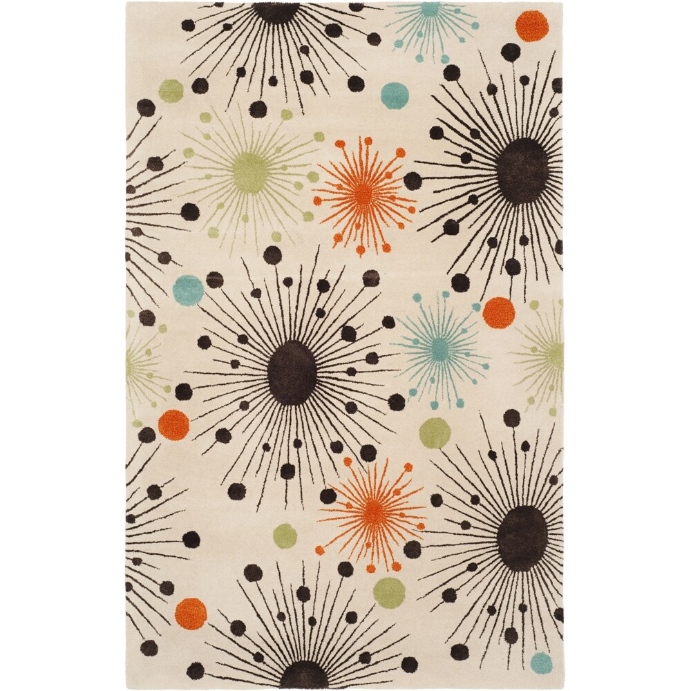 Handmade Cosmos Ivory New Zealand Wool Rug (9'6 x 13'6)