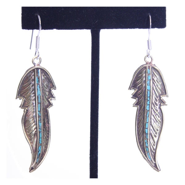 Brass and Sterling Silver Turquoise Feather Design Earrings (Nepal)