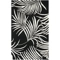 Handmade New Zealand Wool Ferns Black Rug (3'6 x 5'6')