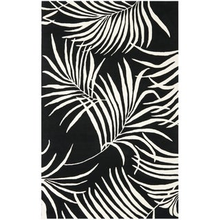 Handmade New Zealand Wool Ferns Black Rug (5'x 8')