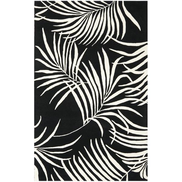 Safavieh Handmade New Zealand Wool Ferns Black Rug (5'x 8')