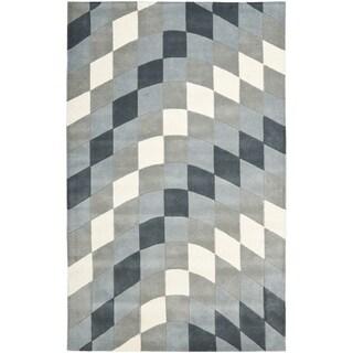 Handmade New Zealand Wool Matrix Grey Rug (7'6 x 9'6)